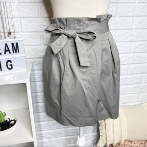 Club Monaco Grey High Waist Paper Bag Mini Skirt